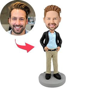 Man In Blazer and Khakis Custom Bobblehead