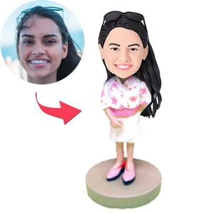 Woman in White Pink Blazer Custom Bobblehead