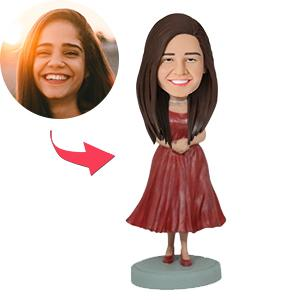 Woman In Red Dress Custom Bobblehead