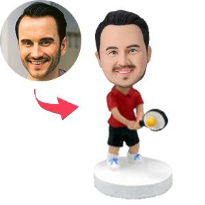Tennis Player Swinging His Racquet Custom Bobblehead
