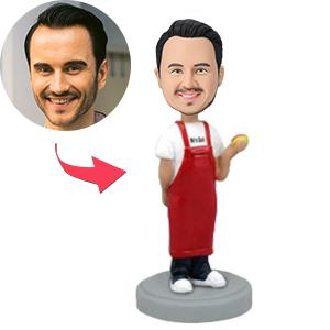 Man In Apron Holding Hot Dog Custom Bobblehead