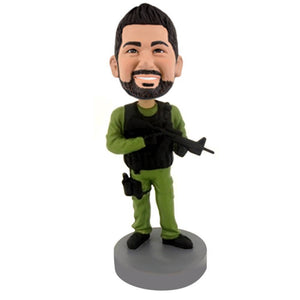 Military Man With Gun And Walkie Talkie Custom Bobblehead The Middle East