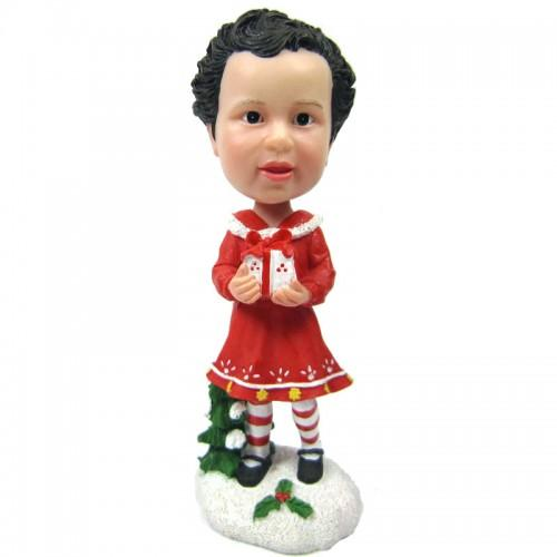Christmas Gift Little Girl with Gift Custom Bobblehead