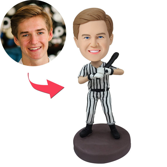 Baseball Batsman In Striped Baseball Suit Custom Bobblehead