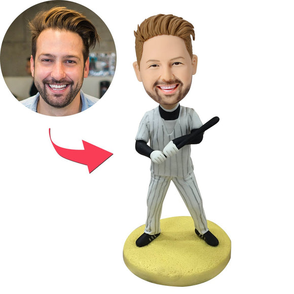 Baseball Batsman With Baseball Bat Custom Bobblehead
