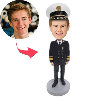 Male Captain Of An Airplane Custom Bobblehead