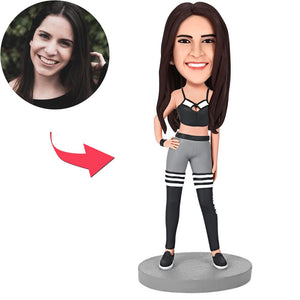 Fashion Woman In Sweatpants Custom Bobblehead