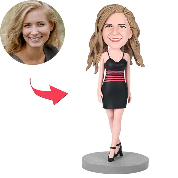 Female Wearing A Black Dress Custom Bobblehead