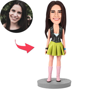 Female Wearing Green Dress Custom Bobblehead