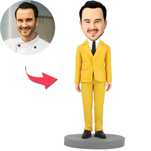 Modern Man In Yellow Suit Custom Bobblehead