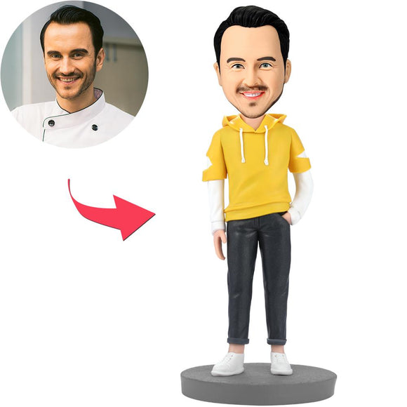 Fashion Man Wearing Yellow Hoodie Custom Bobblehead