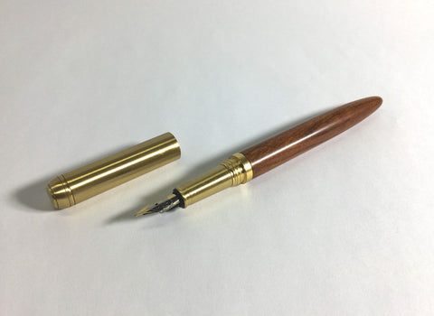 Natural wood and solid brass fountain pen