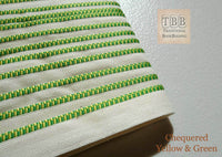 Quality bookbinding headband- Book endband- Chequered Green & Yellow