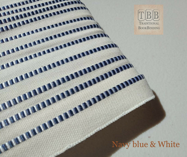 Quality bookbinding headband- Book endband- Navy blue & White
