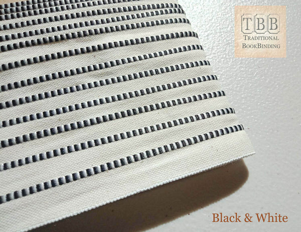 Quality bookbinding headband- Book endband- Black & White