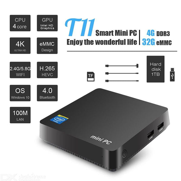 T11 Mini PC Intel Z8350 4 Core 4GB RAM 32GB ROM WIN10 HDMI VGA Output Destop Computer