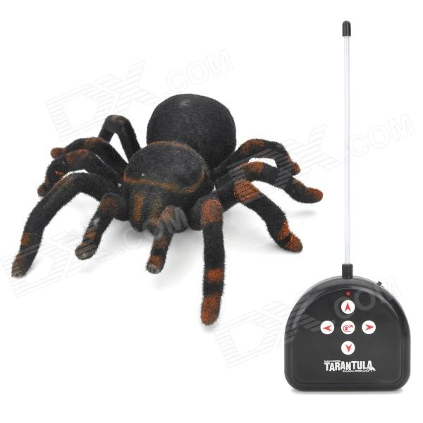 27MHz 2-CH Radio Control Realistic Crawling Movement Tarantula - Black + Dark Coffee (4 x AA)