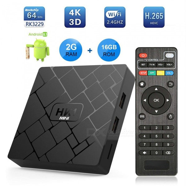 Android 8.1 Smart TV Player, HK1mini rk3229 Chip 4K Network Set-top Box with 2GB RAM, 16GB ROM