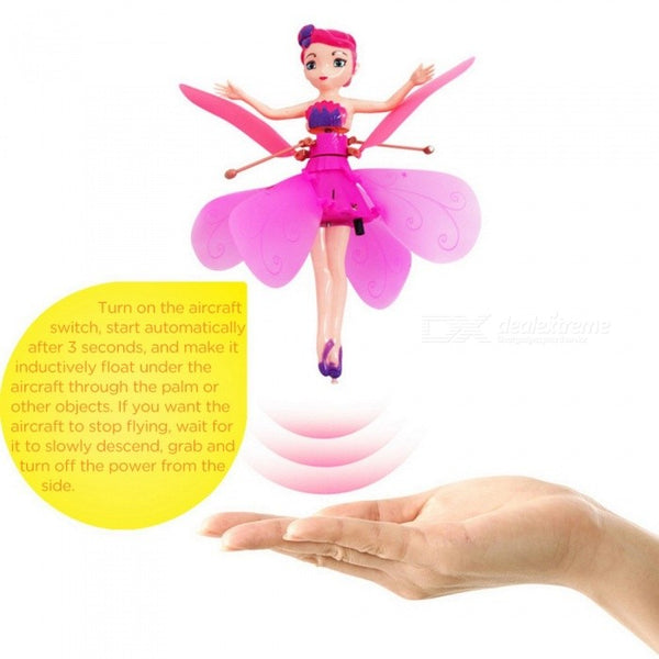 Suspension Induction Flying Fairies RC Helicopter, LED Light Quadcopter Drone, Flying Sensor Remote Control Aircraft Toy Pink