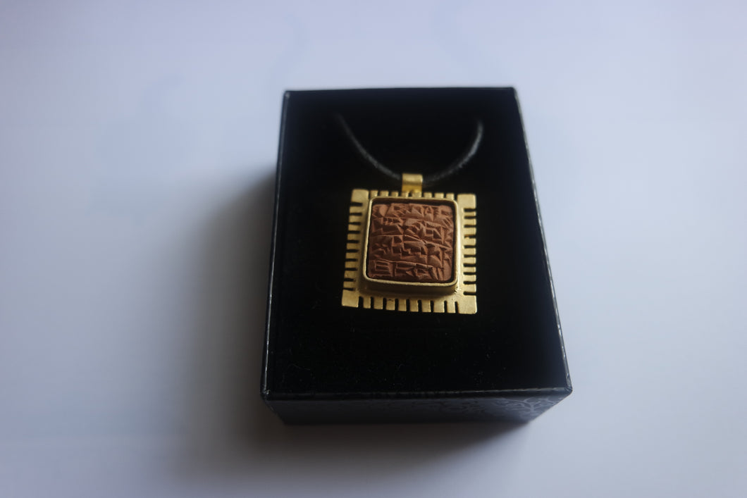 Handmade, Thick Framed, Sumerian Wish Tablet Necklace