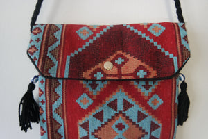 Authentic, handmade, handwoven kilim bags with evil eye beads and different patterns