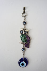 Silver-plated Owl Evil Eye Wall Decor