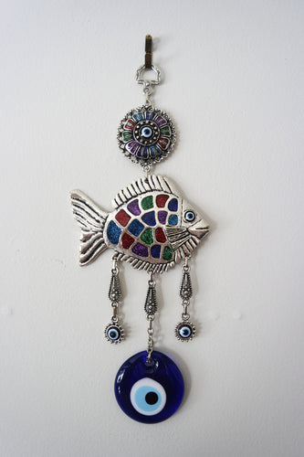 Silver-plated Fish Evil Eye Wall Decor