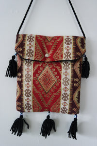 Authentic Handwoven Turkish Kilim Bag with Evil Eye Beads