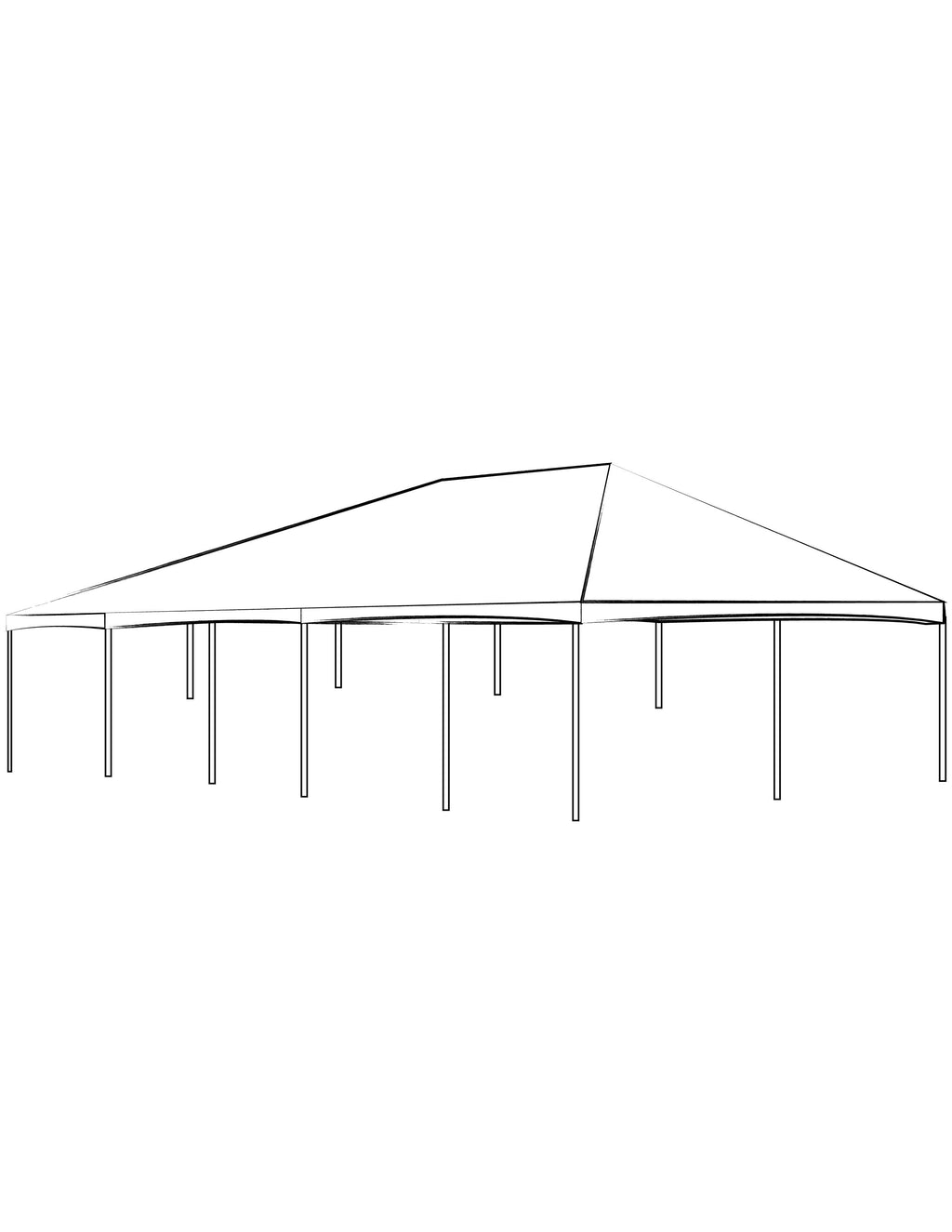 40' x 100' White Solid Top Frame Tent