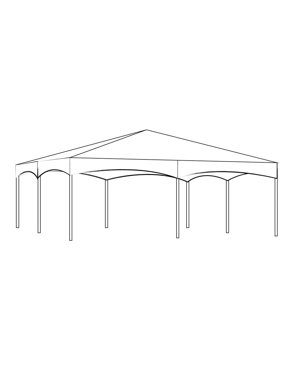 40' x 40' White Solid Top Frame Tent
