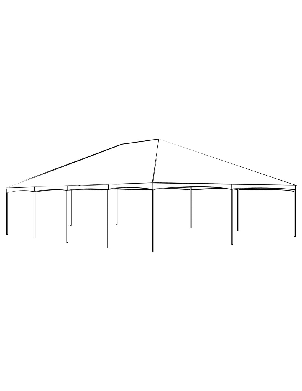 40' x 80' White Solid Top Frame Tent