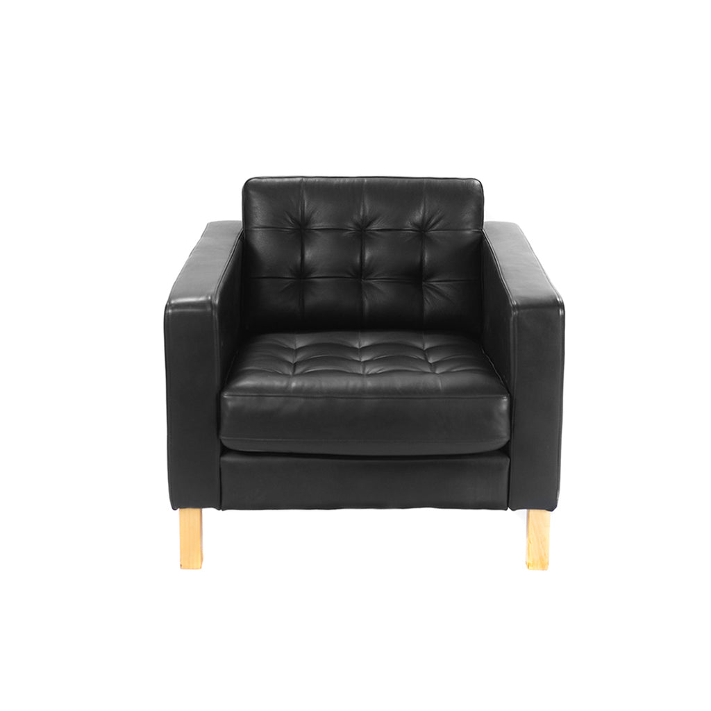 Black Leather Armchair - Alpine Event Co.