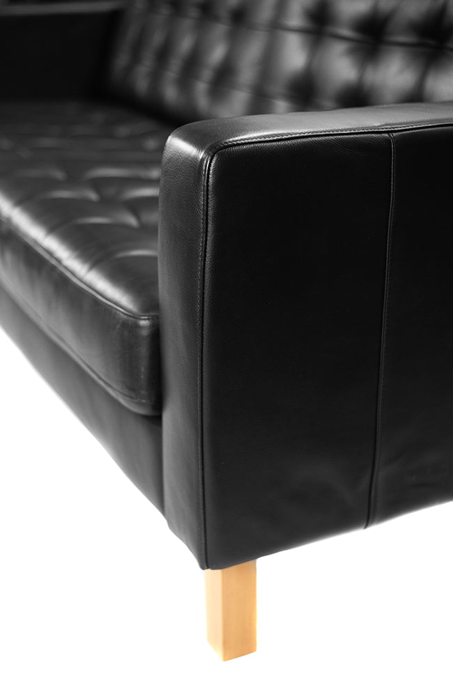 Black Leather Sofa - Alpine Event Co.