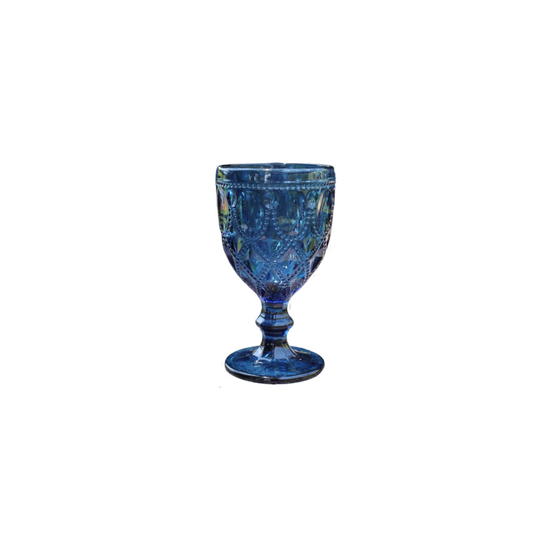 Vintage Blue Glass Goblet - Alpine Event Co.