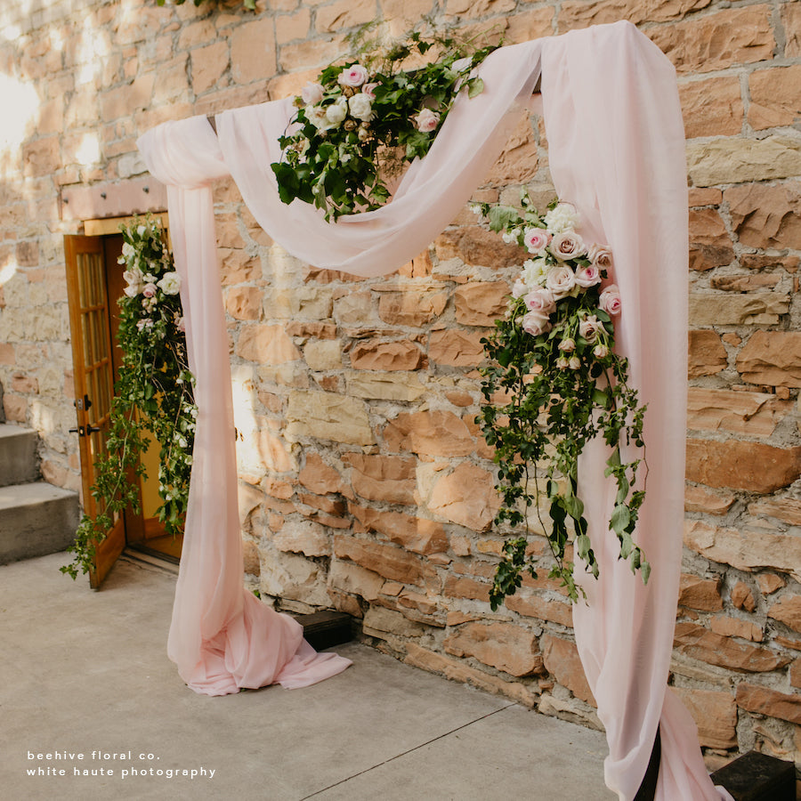 Blush Sheer Draping Panels - Alpine Event Co.