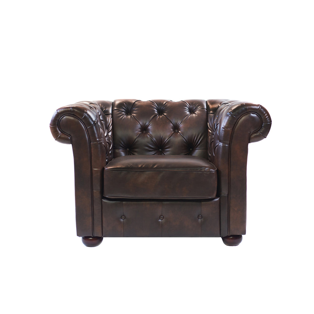 Brown Tufted Leather Armchair