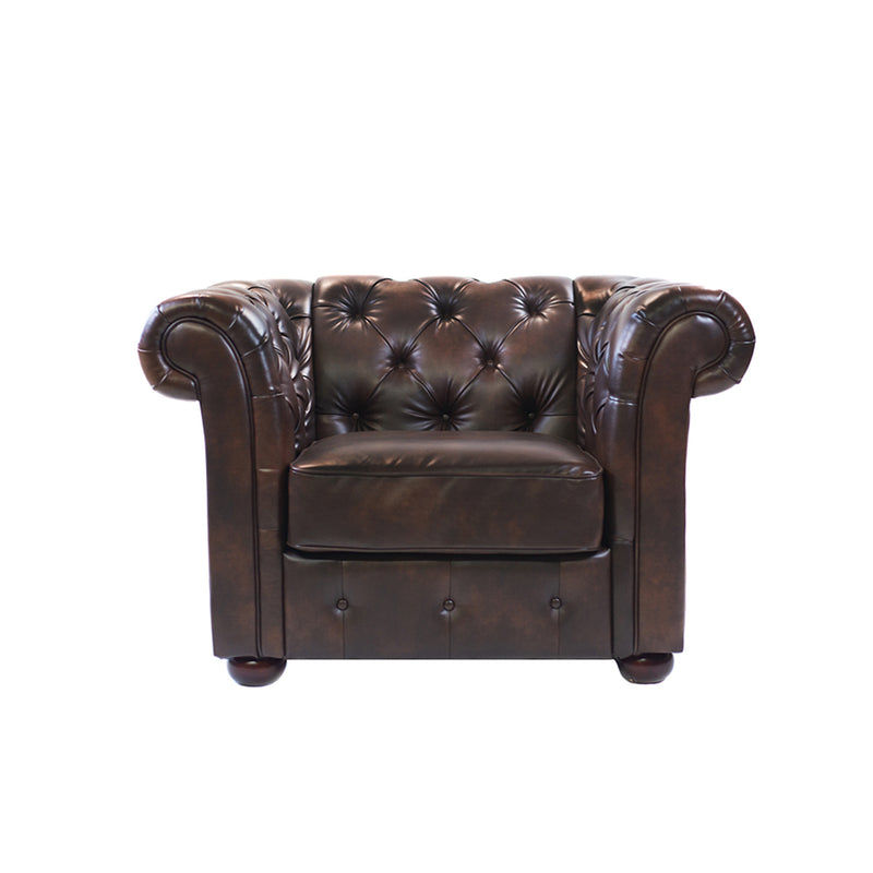 Brown Tufted Leather Armchair - Alpine Event Co.