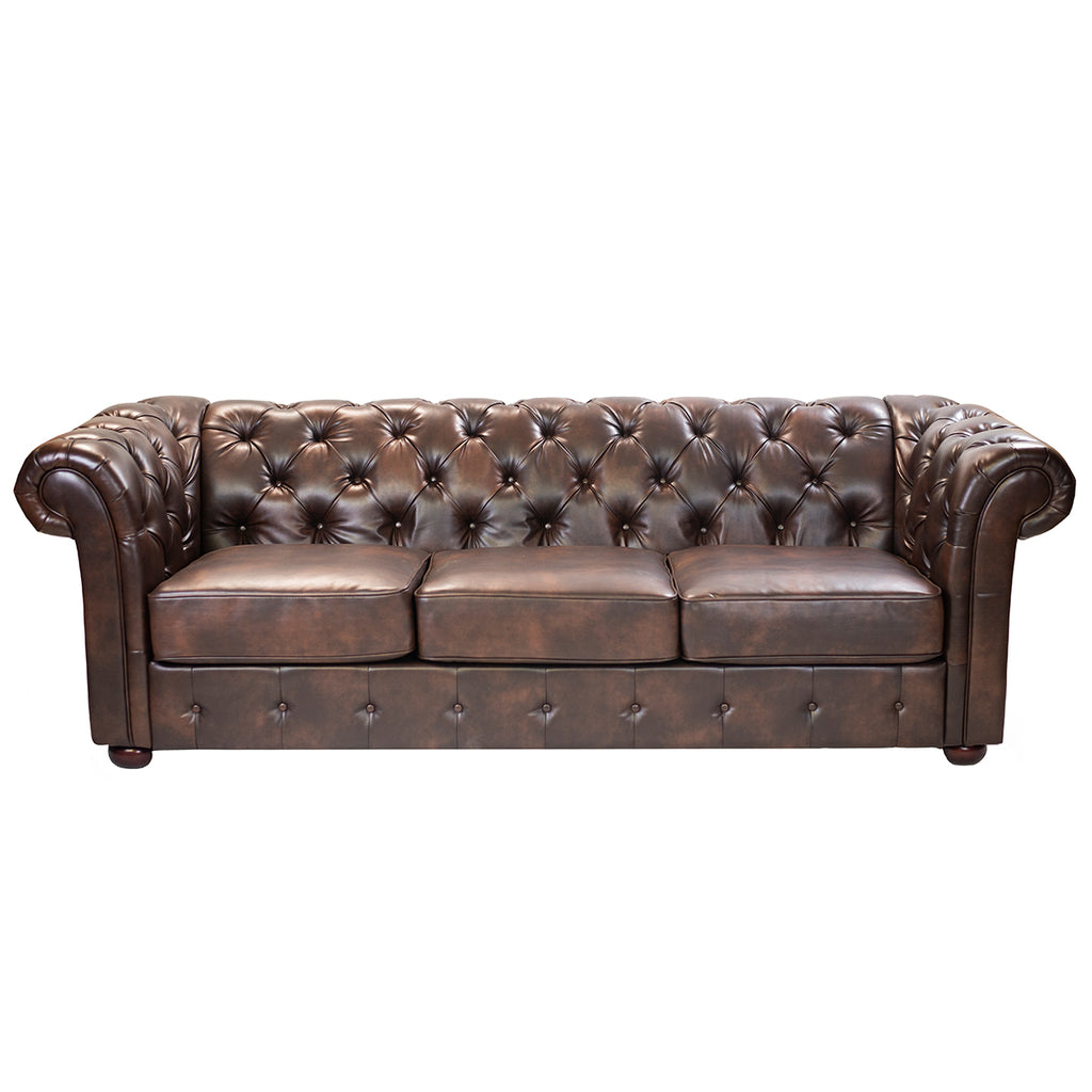 Brown Tufted Leather Sofa - Alpine Event Co.