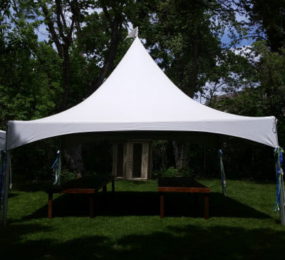 20' x 20' White Solid Top High Peak Tent - Alpine Event Co.