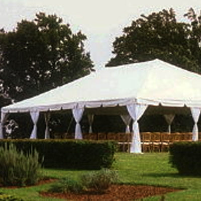 30' x 60' White Solid Top Frame Tent