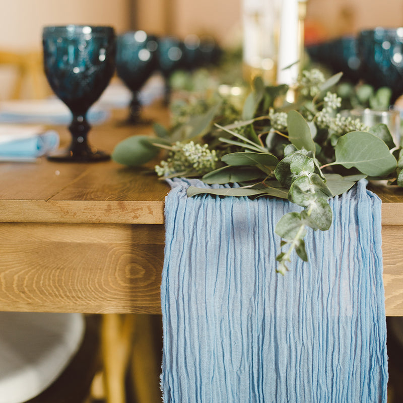 Cornflower Blue Cheesecloth Table Runner - Alpine Event Co.