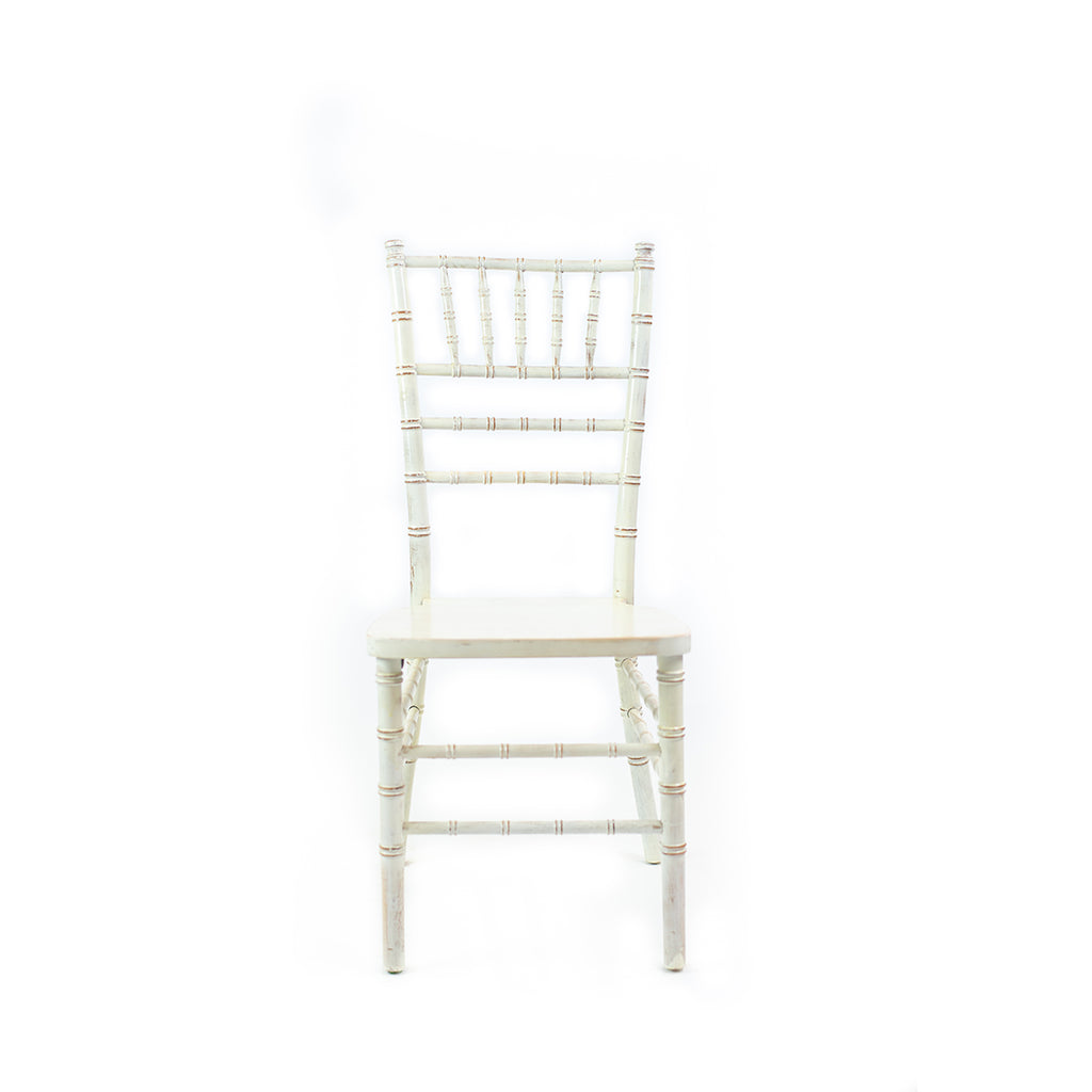 Whitewash Vintage Chiavari Chair - Alpine Event Co.