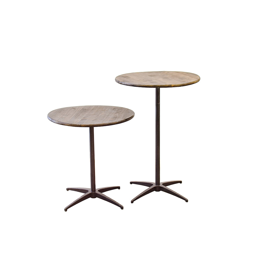 Farmhouse Round Cocktail Table - Alpine Event Co.