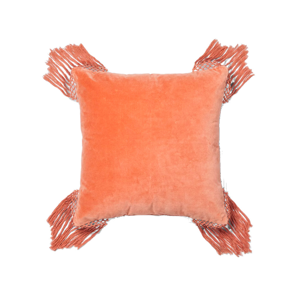 Coral Velvet Fringe Pillow - Alpine Event Co.