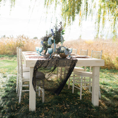 Vintage Farmhouse Dining Table - 4'x8' - Alpine Event Co.