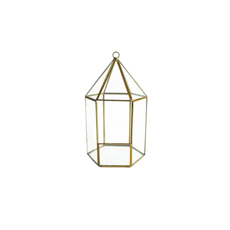 Gold Hexagon Terrarium Lantern - Alpine Event Co.