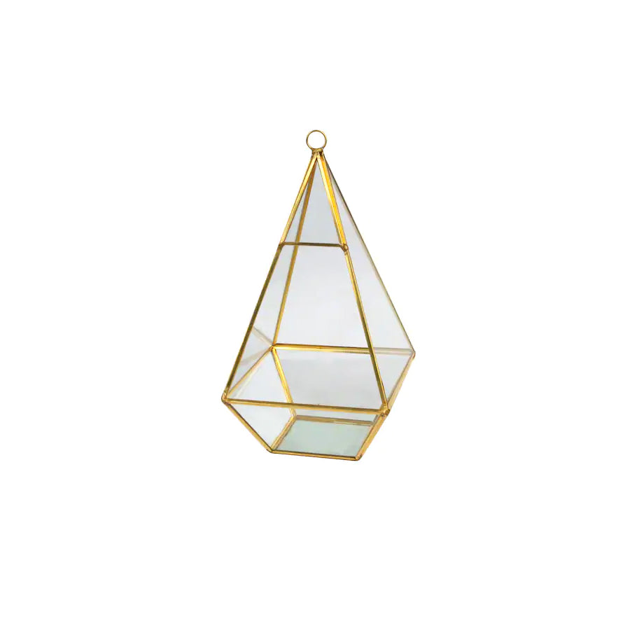Gold Tall Triangle Terrarium