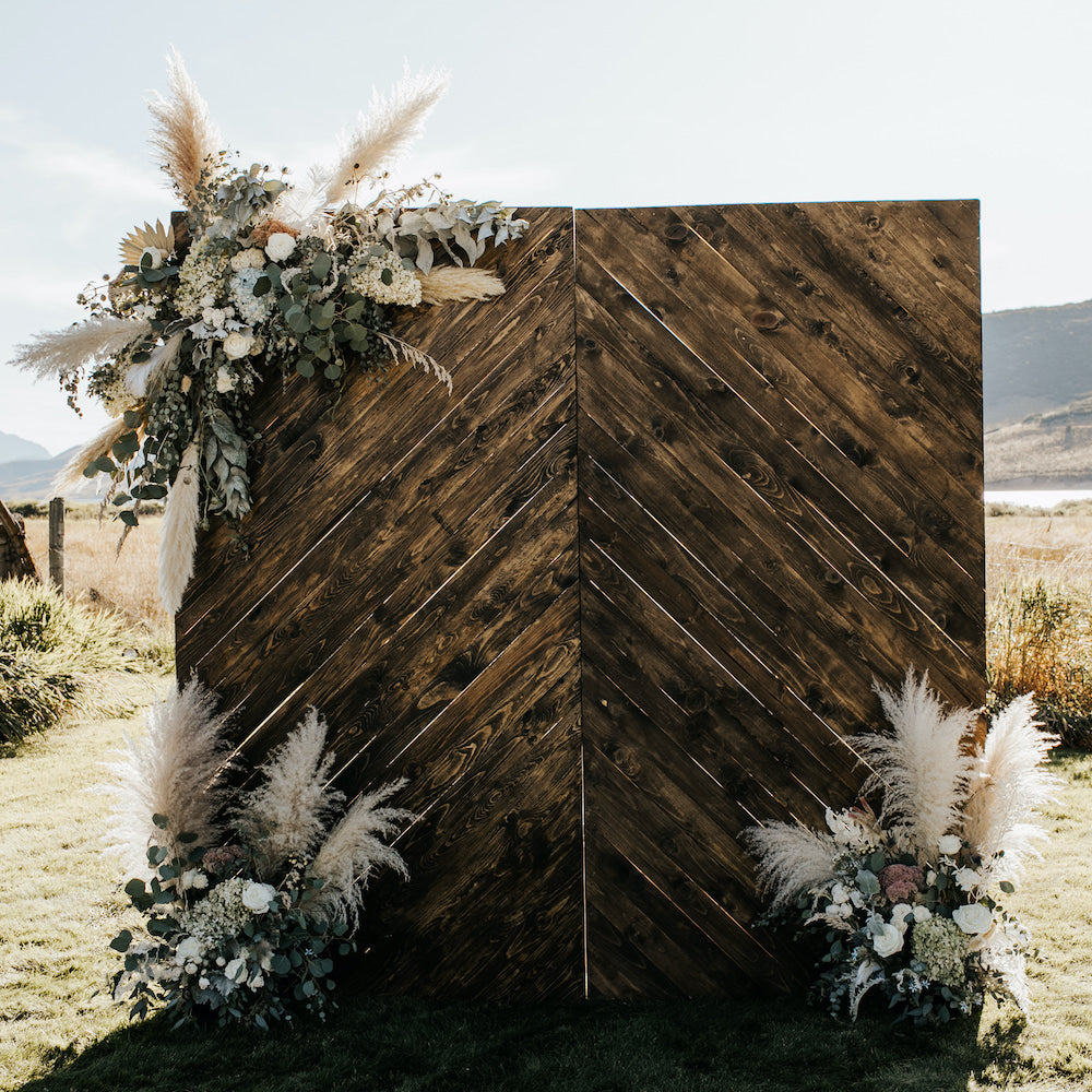 Herringbone Wood Backdrop - Alpine Event Co.
