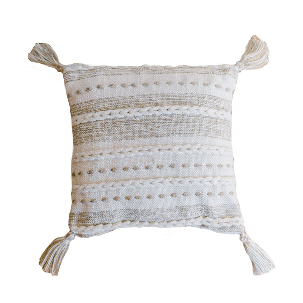 Natural Braided Tassel Pillow - Alpine Event Co.