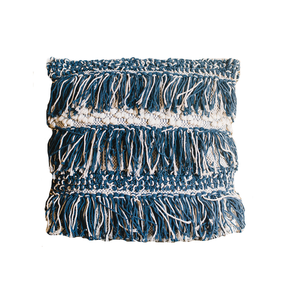 Blue Fringe Pillow - Alpine Event Co.